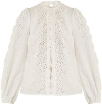 Zimmermann Helm button-through broderie anglaise linen shirt