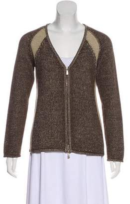 Malo Two-Tone Zip-Up Cardigan