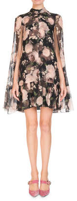 Erdem Constantine Dutch-Petal Chiffon Cape Dress
