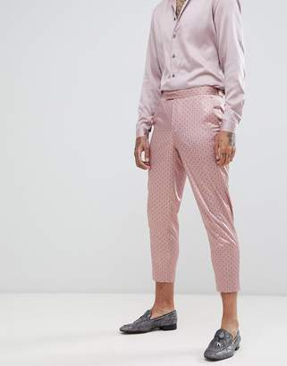 Asos DESIGN slim crop suit pants in mink sateen print