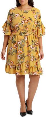 DAY Birger et Mikkelsen Passionfruit Bloom Mock Wrap Ruffle Dress