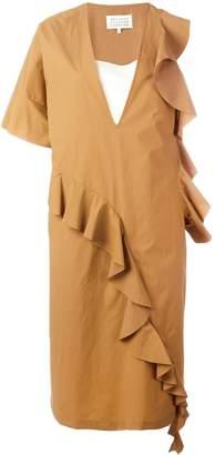 Maison Margiela ruffle trim asymmetric dress