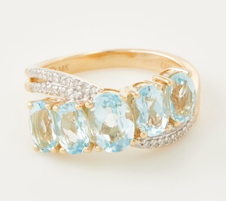 Aquamarine and Diamond 5 Stone Ring, 14K Gold