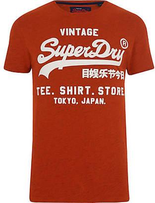 River Island Superdry orange logo print crew neck T-shirt