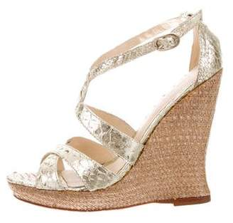 Alexandre Birman Embossed Metallic Wedge Sandals