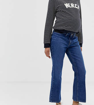 529a03a84b8a2 Asos DESIGN Maternity Egerton rigid cropped flare jeans in dark vintage  wash blue with side bump