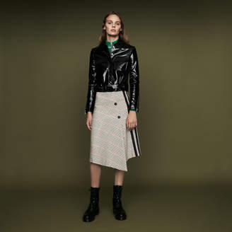 Maje Long asymmetric plaid skirt