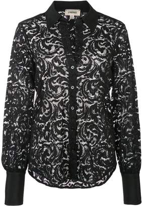 L'Agence semi-sheer floral lace shirt