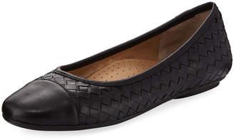 Neiman Marcus Silex Napa Leather Woven Flat, Black