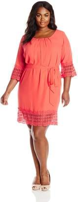 Amy Byer Women's Plus-Size Pleated Neck Lace Trim Sash Belt