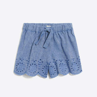 J.Crew Factory Girls' pull-on embroidered eyelet trim short