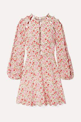 Zimmermann Goldie Cutout Floral-print Linen And Cotton-blend Mini Dress - Antique rose