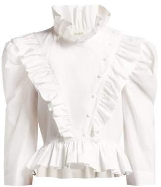 Isa Arfen Edith Ruffled High Neck Cotton Blouse - Womens - White