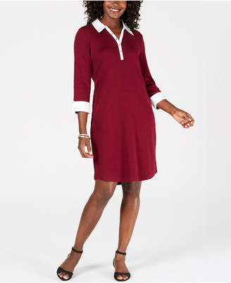 Karen Scott Petite Contrast-Trim Cotton Shirtdress