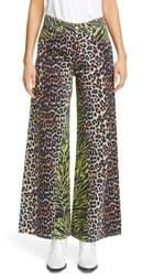 Ganni Animal Print Wide Flare Leg Jeans