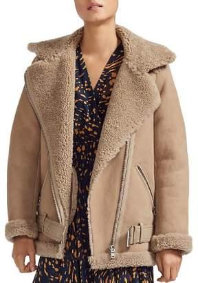 Maje Gombery Real Sheep Shearling Detail Moto Jacket