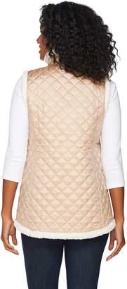 Denim & Co. Reversible Zip Front Textured Faux Fur & Quilted Vest