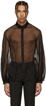 Saint Laurent Black Sheer Shirt $890 thestylecure.com