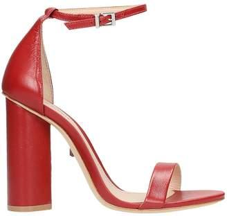 Schutz Red Calf Leather Sandals