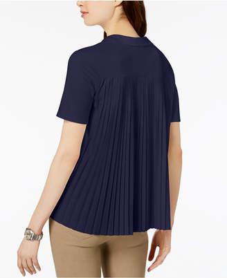 Lacoste Pleat-Back V-Neck Top
