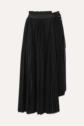 Sacai Belted Pleated Wool And Crepe Midi Skirt - Black
