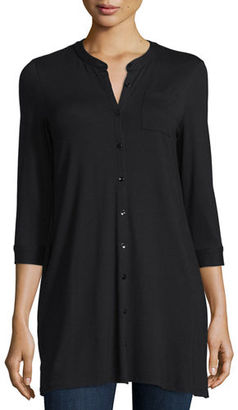 Eileen Fisher 3/4-Sleeve Jersey Button-Front Tunic $178 thestylecure.com