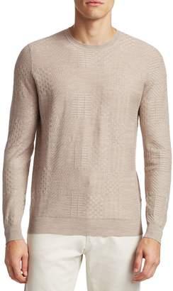 Saks Fifth Avenue Tonal Patchwork Crewneck Sweater