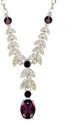 Belle Epoque Cristalina Rhodium Plated Crystal Leaf Amethyst Necklace 43cm with 5cm Extender