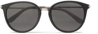 Bottega Veneta Round-Frame Acetate and Gunmetal-Tone Sunglasses