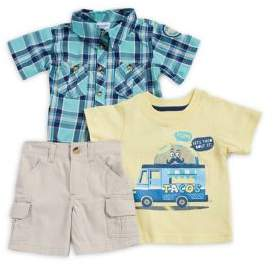 Nannette Baby Boy's Tee, Button-Down Plaid Shirt & Cargo Shorts Three-Piece Se