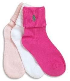 Ralph Lauren Toddler's& Little Girl's Three-Pair Socks