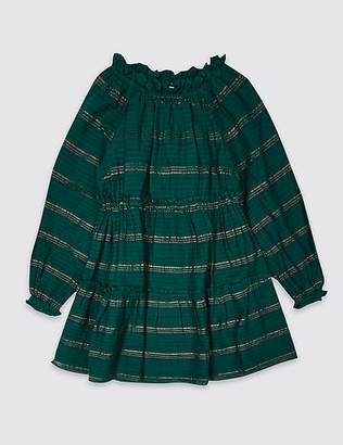 Marks and Spencer Cotton Rich Striped Dress (3-16 Years)