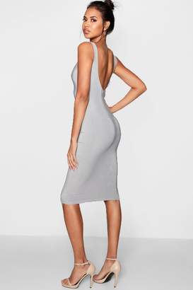 boohoo Double Layer Scoop Neck Midi Dress