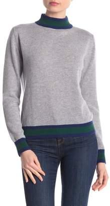 Central Park West Cashmere Stripe Mock Neck Sweater