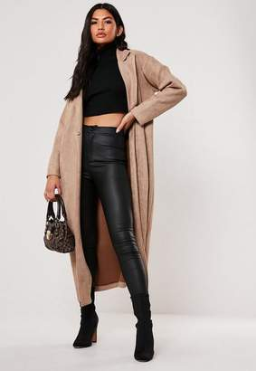 Missguided Premium Brown Faux Suede Trench Coat
