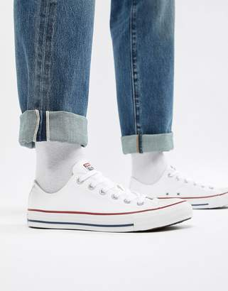 Converse ox plimsolls in white m7652