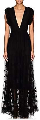 Ulla Johnson Women's Fifi Embroidered Tulle Maxi Dress - Black