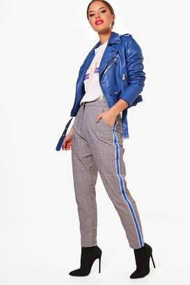 boohoo Petite Sports Tape Checked Woven Trouser