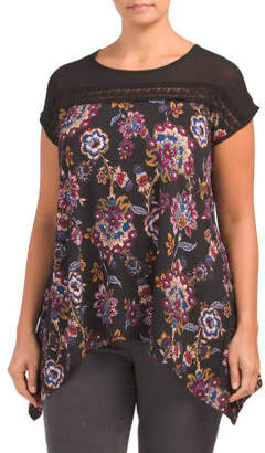 Plus Floral And Mesh Tee