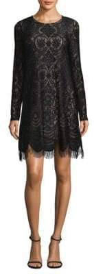BCBGMAXAZRIA Long-Sleeve Lace Shift Dress
