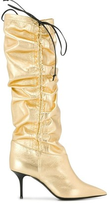 MSGM ruched knee high boots