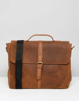 Asos DESIGN leather satchel in vintage tan and front strap