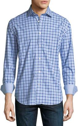 Neiman Marcus Dobby Check-Print Sport Shirt