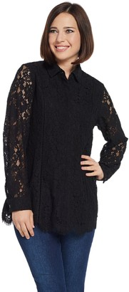 Isaac Mizrahi Live! Lace Button Front Blouse
