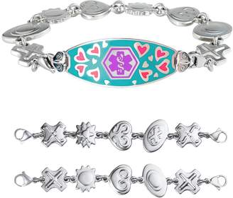 """Charm & Chain Divoti Custom Engraved Loving Heart Medical Alert Bracelet -Retro Reversible Charm Chain -Purple -5.75"""""""