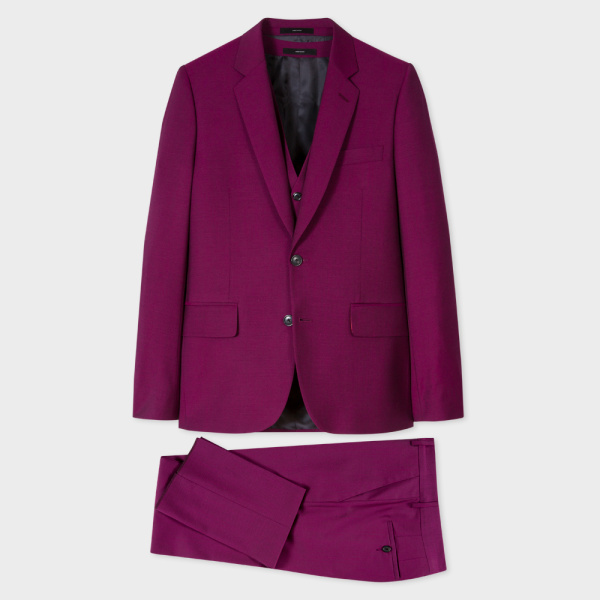 Paul SmithA Suit To Travel In - Men's Tailored-Fit Purple Wool-Mohair Three-Piece Suit