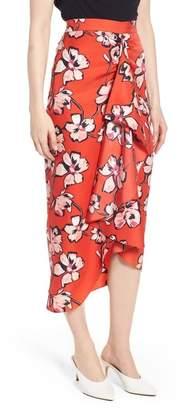 Lewit Faux Wrap Floral Silk Skirt