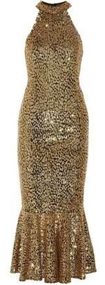 Michael Kors Fluted Sequined Tulle Midi Dress
