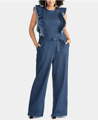 994b3a8e7b3e Rachel Roy Plus Size Nikita Ruffled Denim Jumpsuit