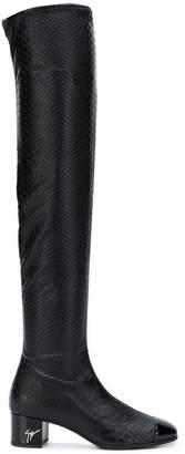 Giuseppe Zanotti Design snakeskin effect over the knee boots